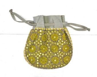 Embroidered Floral Handbag 60s Vintage Blue Leather Lime Green Mirror Cinch Drawstring Purse