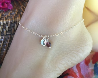 Sterling Silver custom stamped tag charm anklet with colorful bead of choice. Adjustable up to 10 1/2 inches.  Ankle bracelet