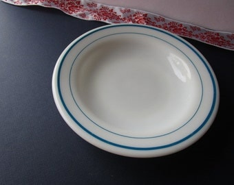 Vintage, Milk Glass bowl with turquoise stripes by 'Pyrex!