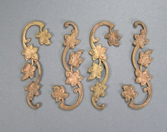 Antique Ginger Brass Stamping, Flower Stamping, Art Nouveau, Edwardian Supply, 4 Pieces