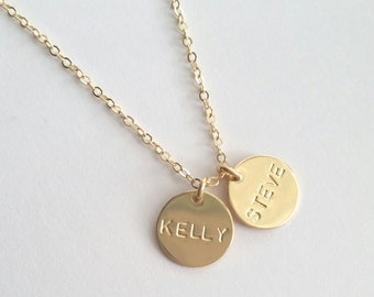 Tiny Gold Name Necklace, Date Necklace, Mother's, Grandma's, Kid's, Sister's, Friend's Necklacece