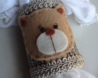 Teddy Bear Napkin Rings Handcrafted for Children's Tea Party Baby Boy Brown Hand Crafted ~ #55