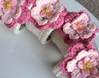 Crochet Flower Napkin Rings Hand Crafted Pink Crocheted Floral Handcrafted ~ #22