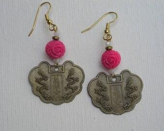 five dollar earrings, Chinese zodiac brass earrings, surgical steel, zodiac, metal earrings, pink beads, vintage beads, dangle earrings