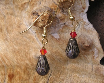 five dollar earrings, Swarovski crystal, red crystal, Montana, dangle earrings, jasper, jasper earrings, brass, brown jasper, boho