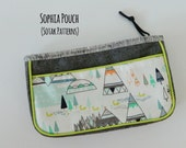 Sophia Pouch {PDF sewing pattern} instant download, sew, zipper pouch, zipper binding, pocket, clutch, elegant, unique, sotak patterns