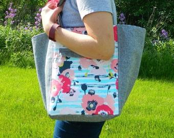 Ella Bucket Bag {PDF sewing pattern} instant download, tote bag, roomy, elegant, sotak patterns, hidden pocket, classy, sew, pretty