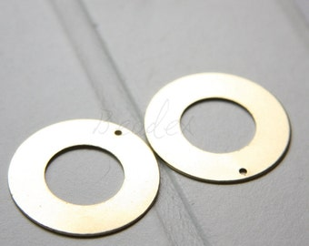 10 Pieces / Raw Brass / Flat / Ring / Loop (C3017//F10)