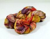 Sock Yarn / Hand Dyed / Fingering Yarn- Superwash Merino / Nylon - Autumn Desert Flowers - Purple / Fire Red / Golden Yellow /Black Speckles