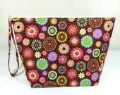 Knitting Project Bag - Large Zipper Wedge Bag in Retro Floral Fabric and Red / Gold Cotton Lining