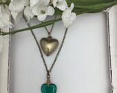 Heart Necklaces Layered Necklaces Puffy Heart Green Glass Vintage Necklaces