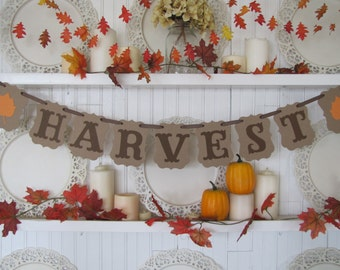 HARVEST Banner for Fall decorations, Fall sign, Autumn banner