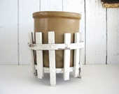 Vintage Wood Plant Stand Pot Holder Container Planter White Picket Fence Decor Cottage Chic Primitive Chippy Reclaimed Salvage Garden Decor