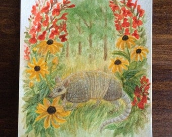 Wildflower Armadillo Original Watercolor painting