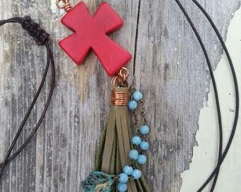 Leather Tassel Necklace Bohemian jewelry,, hippie boho,, gypsy necklace, Large Red Howlite Necklace