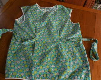 Vintage Retro Tunic Smock Full Apron Turquoise Green Pockets
