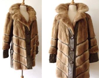 70's Vintage Blond Mink  Fur &  Taupe Leather Jacket ~ Real Mink Fur Coat ~ Size Large