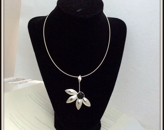 OOAK Flower pendant sterling silver Black Onyx rose cut Contemporary modern for woman Omega chain