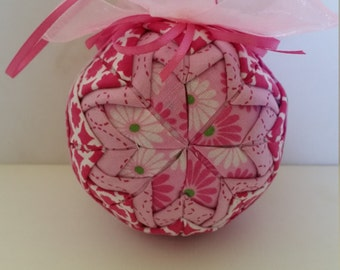 Quilted Pink Christmas Ornament
