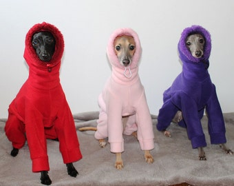 Italian Greyhound - SHADEDMOON DESIGN - Snowsuit/Jammies with Sherpa trim jersey lined Snood/Neck Warmer - IMPORTANT - see - 'Item Details'