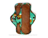 10 inch Moderate & Heavy Reusable CLOTH Pad Set of 2 with Pul in Green Fox ECO Friendly SAVE - Ready to Ship