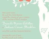 RUSH Mint and Coral Love Bird Wedding Invitation, Budget Wedding Invitations, Custom SAMPLE Listing for bmarie09