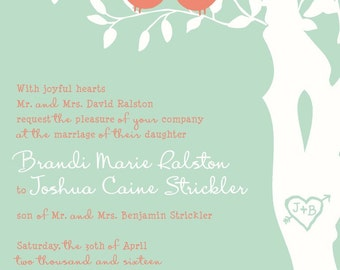 RUSH Mint and Coral Love Bird Wedding Invitation, Budget Wedding Invitations, Custom SAMPLE Listing for bmarie09