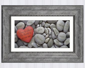 "Family Rocks, Custom Gift for Her, Engraved Rock, Heart Stone Art Print, Personalized Gift for Mom, Gift for Grandma, Genealogy, 10"" x 20"""