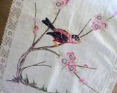Vintage Dresser Scarf - Embroidered Bird On Branch - Spring Table Runner - Cottage Chic Decor