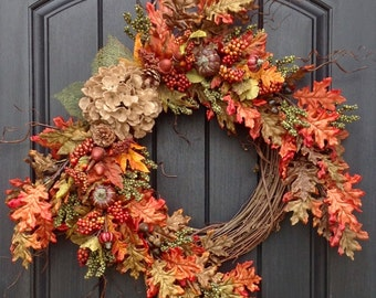 Fall Wreath-Autumn Wreath Green Berry- Wispy Twig-Holiday Wreath-Grapevine Door Decor-Fall Decor-Burlap Hydrangea-Fall Leaves-Monogrammed