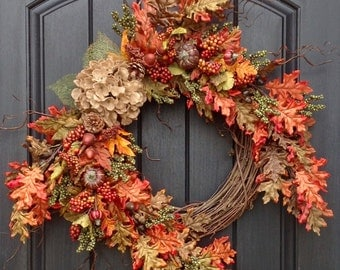 Fall Wreath-Autumn Wreath Green Berry- Wispy Twig-Holiday Wreath-Grapevine Door Decor-Fall Decor-Burlap Hydrangea-Fall Leaves-LAST ONE
