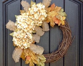 READY TO SHIP Fall Wreath-Autumn Wreath-Twig-Holiday Wreath- Grapevine Door Decor-Fall Decor Cream Hydrangea-Floral Monogrammed Wreath