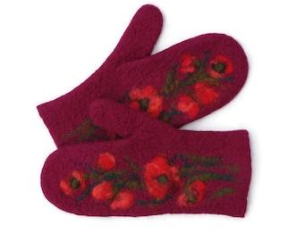 Felted Mittens Merino wool Burgundy Red Flowers