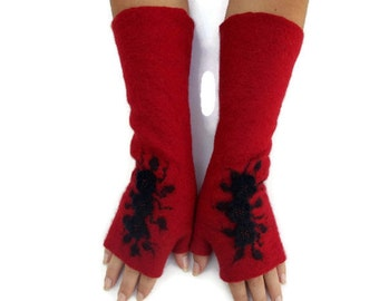 Felted Fingerless gloves Fingerless Mittens Arm warmers Gloves - Black Red Floral