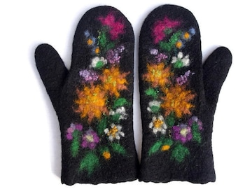 Felted Mittens Black Flowers