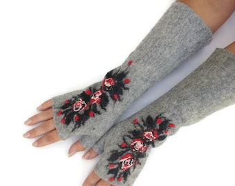 Long Felted Fingerless gloves Fingerless Mittens Arm warmers Gloves Light Gray Floral
