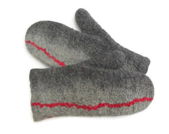 Felted Mittens Merino Wool Gray Red