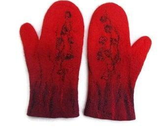 Felted Mittens merino Wool Red, Burgundy, Black