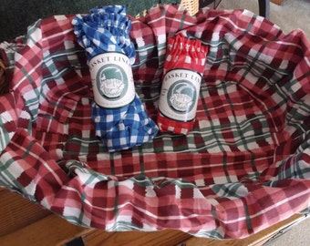 """Vintage Basket Liners, Country Plaid, Cotton Fabric, Fits Up to size 16"""" Diameter, Red/white & Blue/white."""