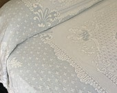 Wedgwood Blue Mattelasse Bedspread Queen / King Abigail Adams Bates Maine Heritage Weavers