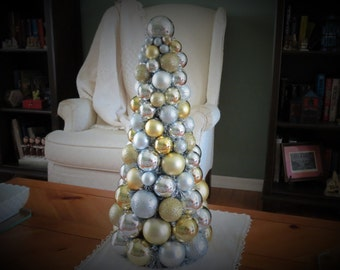 """Christmas TABLE TOP TREE 20""""  Gold and Silver  Ornament Tree"""