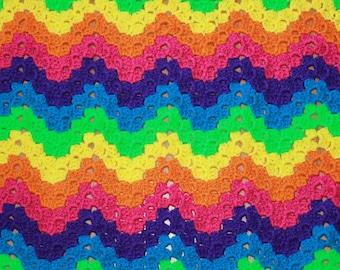 Rainbow Rippling Block Afghan - OOAK - RTS