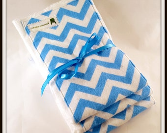 Aqua Blue Chevron Burp Cloth Trio