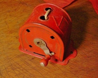 Clothes Line Vintage Red Acme MGM Drying Line Retractable Hand Crank