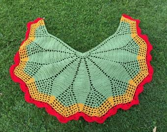 Green Bohemian Shawl, Crochet