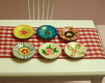 6  Hand-Painted Wall Display Plates for Dollhouse 12th Scale