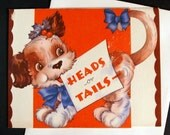 Vintage 1940s Puppy Christmas card, unused