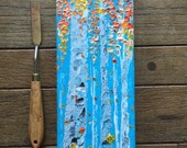 12x4 Textured Aspen Birch Tree Original Nature Woodland Cabin Art