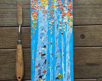 12x4 Textured Aspen Birch Tree Original Nature Woodland Cabin Art