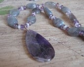 Amethyst Teardrop Pendant Necklace with Labradorite and Moonstone